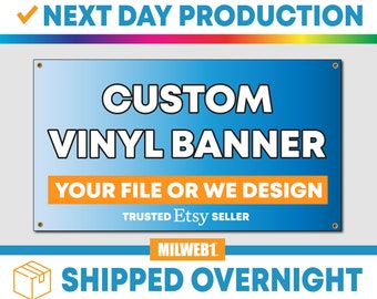 """2'x5' (24""""x60"""") Full Color Custom Vinyl Banner - Next Day Production - Free Overnight Shipping"""