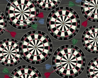 1224 Man Cave Darts on Black Fabric By the Yard; Fat Quarters to Full Yards