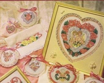 11 designs hearts /& roses cross stitch chart CUPIDS