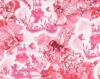 Quilting Craft Cotton Fabric Novelty Pink Grey Off To Dreamland Bundle B