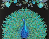 Enchanted Plume Peacock 100 Cotton Quilting Fabric Panel Timeless Treasures