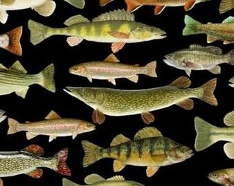 BLACK GOLD Meter//Fat Quarter//FQ 100/% Cotton Fabric Quilt Sew Craft Japanese Fish