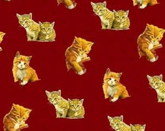 Fat Quarter Curious Kitties Cats Kittens Cotton Quilting Fabric VIP 74507RED
