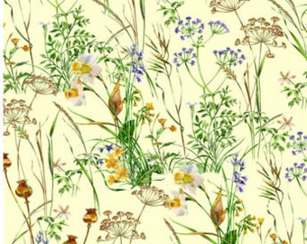 Fat Quarter Wildflowers Meadow Flowers Floral 100% Cotton Quilting Fabric Yellow