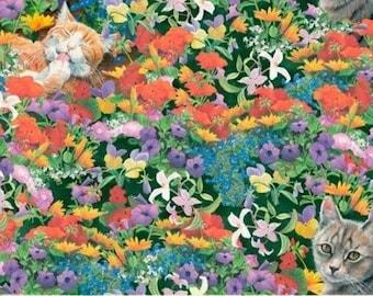 Fat Quarter Cat Nap Floral Feline Cotton Quilting Fabric Springs 35574