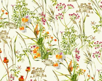 Fat Quarter Wildflowers Meadow Flowers Floral 100% Cotton Quilting Fabric Cream