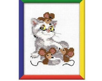 Friends Cat and Mice Counted Cross Stitch Kit