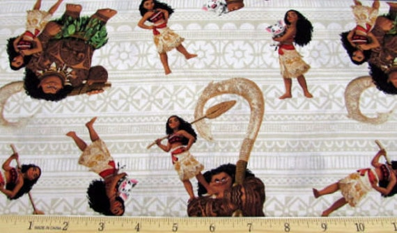Fat Quarter Disney Moana and Friends Cotton Quilting Sewing Patchwork Fabric
