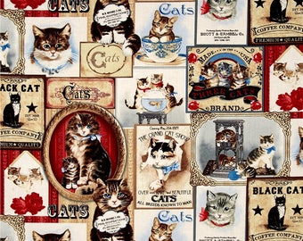 Fat Quarter Cats Labels 100% Cotton Quilting Fabric Timeless Treasures C4498