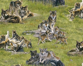 Fat Quarter Wolves North American Wildlife Animals Cotton Quilting Fabric