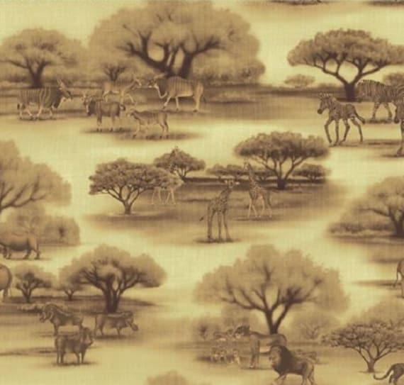 Fat Quarter African Savannah Animals Dark Grey Quilting Cotton Quilting Fabric