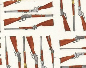 Fat Quarter Wild West Saloon Rifles Winchester 100% Cotton Quilting Fabric