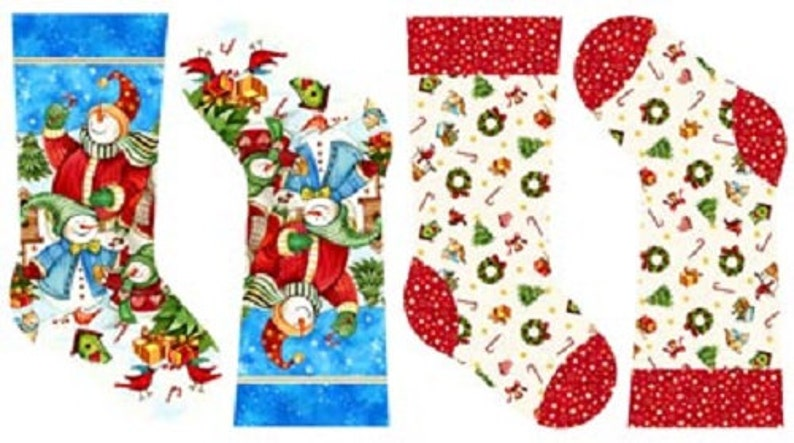 Winter Magic Snowmen Novelty Christmas Stocking Quilting Fabric Panel Northcott