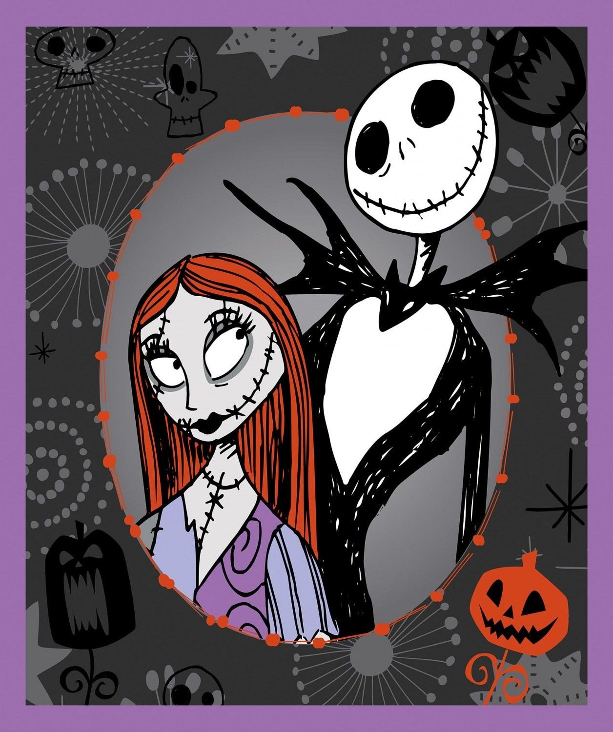 Disney Nightmare Before Christmas Jack Sally 100% Cotton Quilting ...
