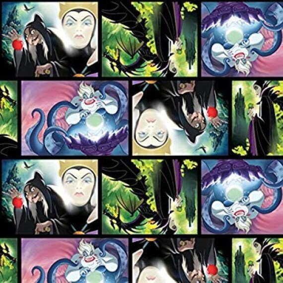 Fat Quarter Disney Villain Patch Maleficent Ursula Cotton Quilting Sewing Fabric