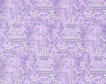 Fat Quarter Eiffel Tower Lilac Cotton Quilting Fabric - Michael Miller