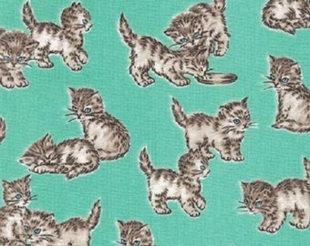Fat Quarter Whiskers And Tails Cats Kittens Mint Grn 100% Cotton Quilting Fabric