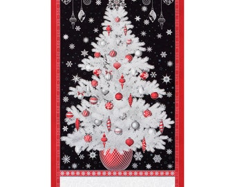 Winter's Grandeur 7 Holiday Christmas Tree Silver Cotton Quilting Fabric Panel