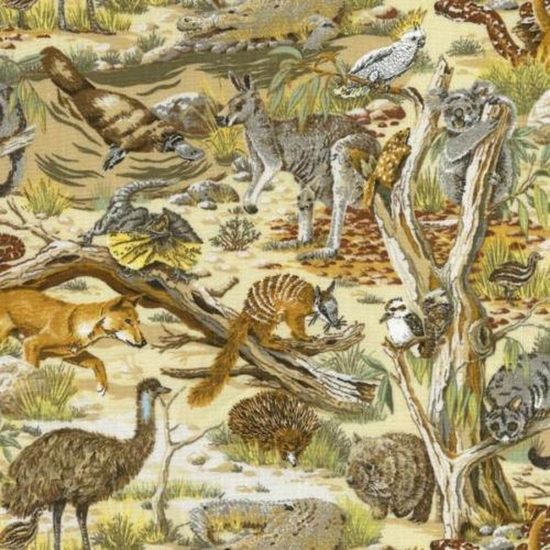 Fat Quarter Outback Animals Whimsical Critters 100/% Cotton Quilting Fabric