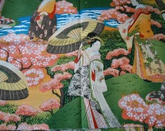 Fat Quarter Japanese Ladies Geisha Garden Scenic 100% Cotton Quilting Fabric
