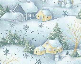 Snow Show Winter Scene Quilting Fabric (Fat Quarter, 50cm x 55cm)