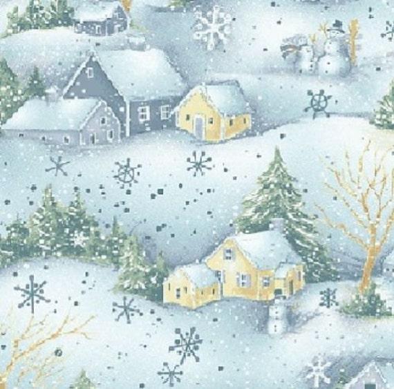Fat Quarter Field of Snowmen Blue Christmas Cotton Quilting Fabric 50cm x 55cm