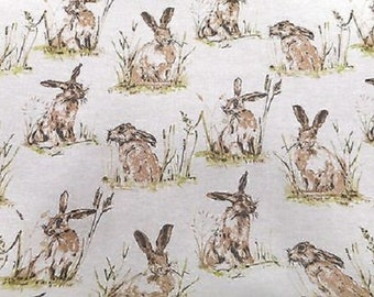 Fat Quarter Hares Popart Panama Linen Look Cotton Quilting Furnishing Fabric