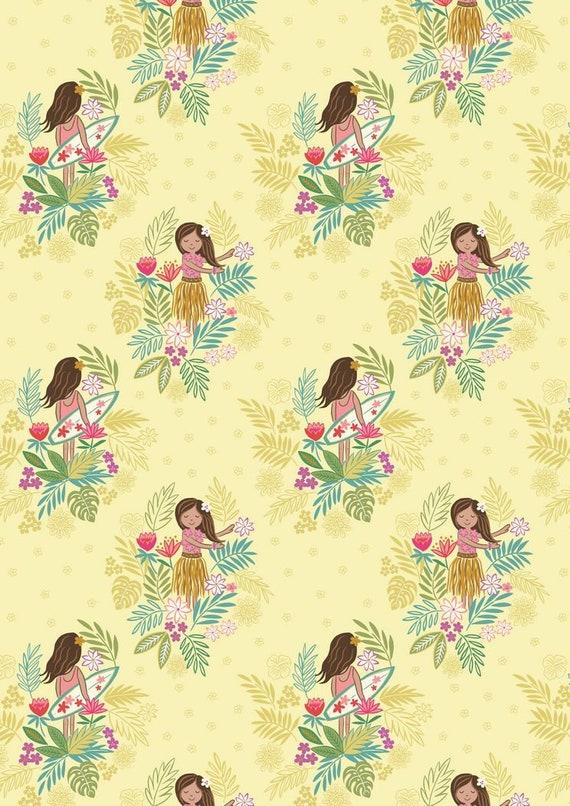 Fat Quarter Island Girl Polynesian Look Sunshine 100/% Cotton Quilting Fabric