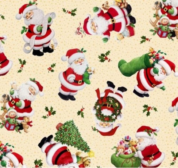 Fat Quarter Christmas Santas Cotton Quilting Fabric  50cm x 55cm
