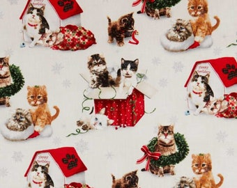 Fat Quarter Christmas Fireside Kittens Scenic 100% Cotton Quilting Fabric