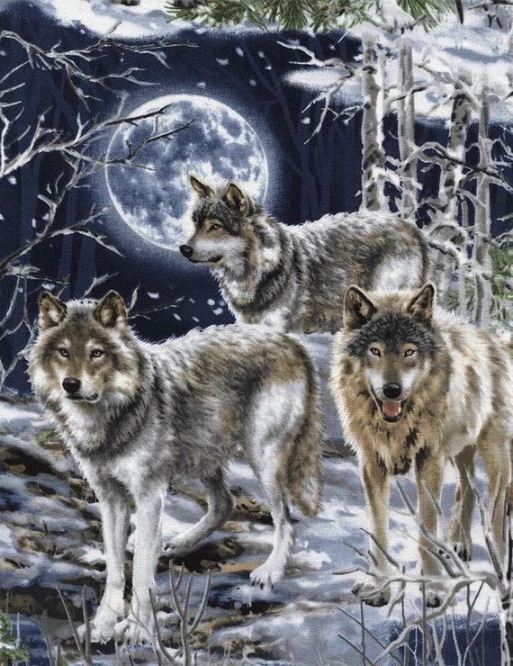 Fabric Wild Wolves Wolf on Cotton by Elizabeth 1//4 yard