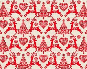 Fat Quarter Scandinavian Reindeer Set Red Christmas 100% Cotton Quilting Fabric