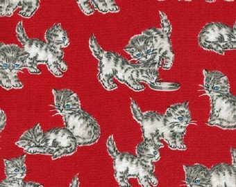 Fat Quarter Whiskers And Tails Cats Kittens On Red 100% Cotton Quilting Fabric