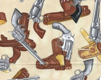 Fat Quarter Wild West Saloon Pistols And Holsters 100% Cotton Quilting Fabric
