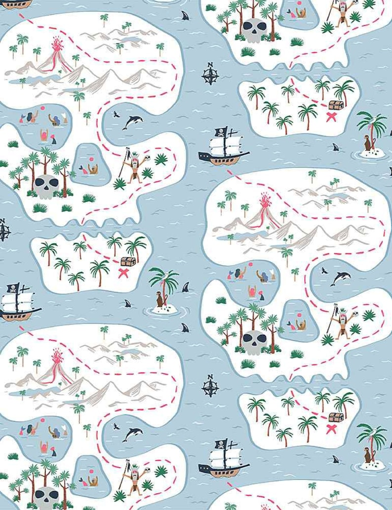 Fat Quarter Bootylicious Skull Island Pirates Cotton Quilting Fabric