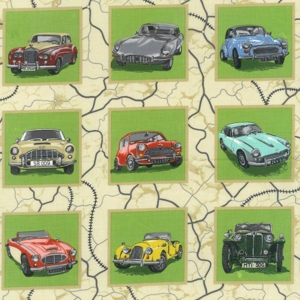 Classic And Vintage Cars Panels Quilting Fabric 55 Panels Each 8cm