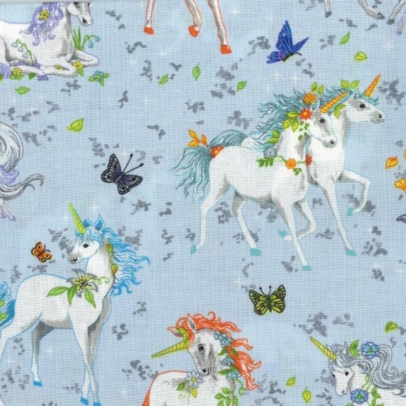 Fat Quarter Pretty Please Blue Fantasy Unicorn Family Cotton Quilting Fabric