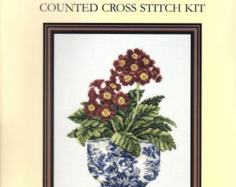 Primula In Willow Pattern Pot By DMC Stitched on 14 Count Aida K4150