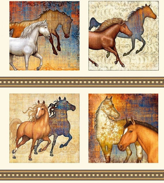 Fat Quarter Wild Wild West Horses Mustang Cotton Quilting Fabric Benartex 8023