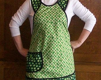 Shamrock Retro Kitchen Apron - Green and Black St. Patrick's Day Kitchen Apron - Size L