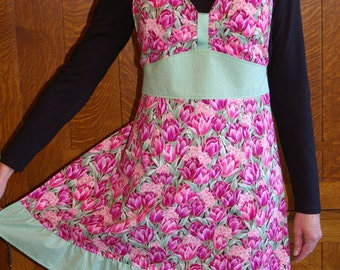 Pink and Green Tulip Halter Style Apron with Ruffle-Size M