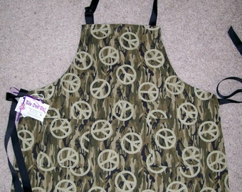 SALE Boy Apron Size 10 - Camouflage and Peace Signs