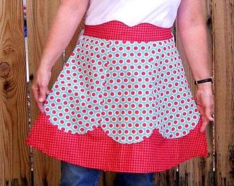 Sale Apron-Retro Dots and Checks-Aqua and Red-One Size