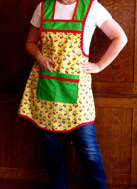Retro Cherry Kitchen Apron Yellow Red And Green Full Apron Etsy