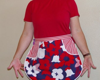 Red White and Blue Floral Half Apron