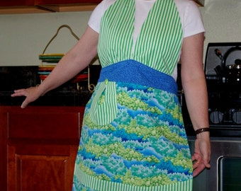 APRON SALE Retro Halter Apron- Blue and Green -Size Large