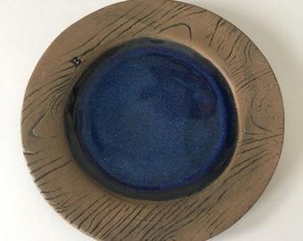 Handmade Blue Ceramic Wood Grain Dessert Plate, Rustic, Faux Bois Stoneware Dishes