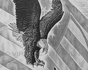 American Flag We Will Prevail Original Pencil Drawing Of A Etsy