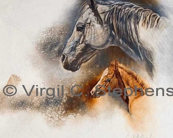 Horse art, Duet, print from the original oil painting of a mare and her new foal, horse artwork