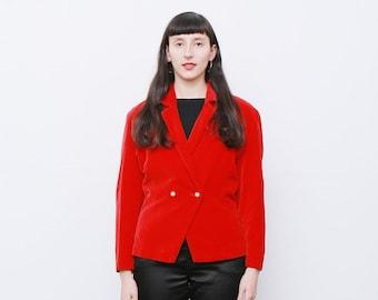 Vintage 80's Red Velvet Blazer Jacket
